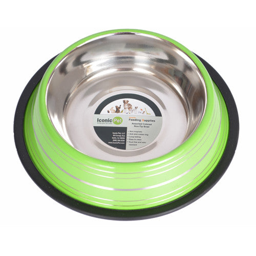 Color Splash Stripe Non-Skid Pet Bowl 8oz - Green - Iconic Pet - Dropship Direct Wholesale