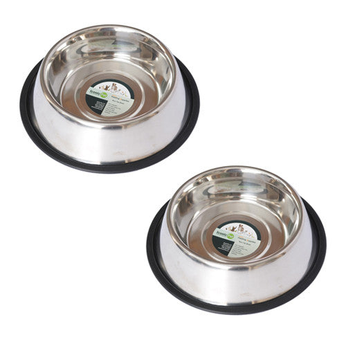 2 Pack Stainless Steel Non-Skid Pet Bowl for Dog or Cat - 64oz - 8 cup - Iconic Pet - Dropship Direct Wholesale