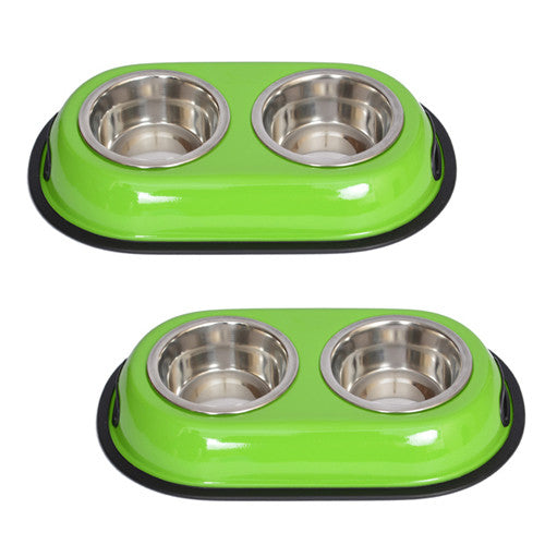 2 Pack Color Splash Stainless Steel Double Diner (Green) for Dog/Cat - 1/2 Pt - 8oz - 1 cup - Iconic Pet - Dropship Direct Wholesale
