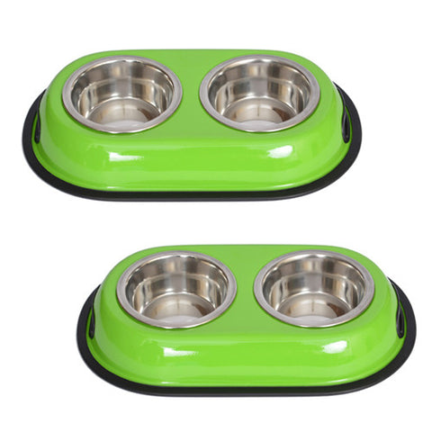 2 Pack Color Splash Stainless Steel Double Diner (Green) for Dog/Cat - 1 Qt - 32oz - 4 cup - Iconic Pet - Dropship Direct Wholesale