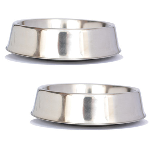 2 Pack Anti Ant Stainless Steel Non Skid Pet Bowl for Dog or Cat - 16oz - 2 cup - Iconic Pet - Dropship Direct Wholesale