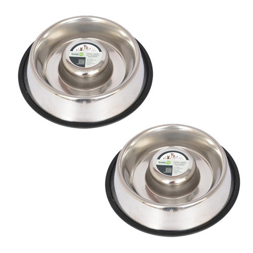 2 Pack Slow Feed Stainless Steel Pet Bowl for Dog or Cat - Large - 48oz - Iconic Pet - Dropship Direct Wholesale