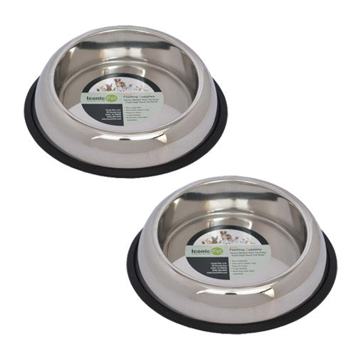 2 Pack Heavy Weight Non-Skid Easy Feed High Back Pet Bowl for Dog or Cat - 16oz - 2 cup - Iconic Pet - Dropship Direct Wholesale