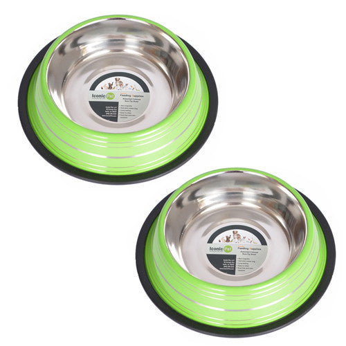 2 Pack Color Splash Stripe Non-Skid Pet Bowl for Dog or Cat - Green - 96oz - 12 cup - Iconic Pet - Dropship Direct Wholesale