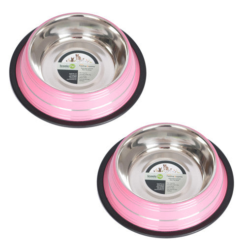 2 Pack Color Splash Stripe Non-Skid Pet Bowl for Dog or Cat - Pink - 8oz - 1 cup - Iconic Pet - Dropship Direct Wholesale