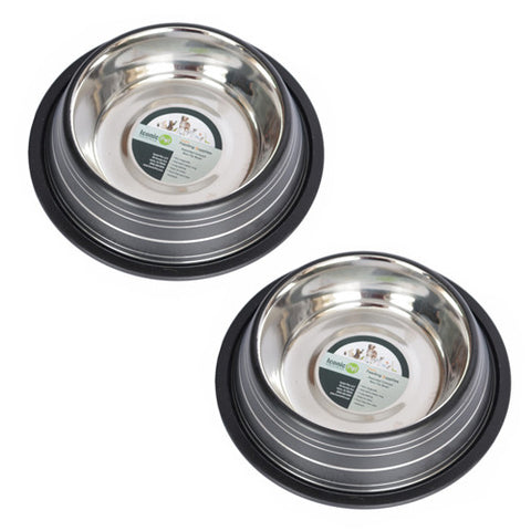 2 Pack Color Splash Stripe Non-Skid Pet Bowl for Dog or Cat - Black - 16oz - 2 cup - Iconic Pet - Dropship Direct Wholesale