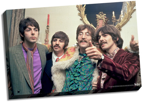 The Beatles Thumbs Up Stretched 22x26 Canvas