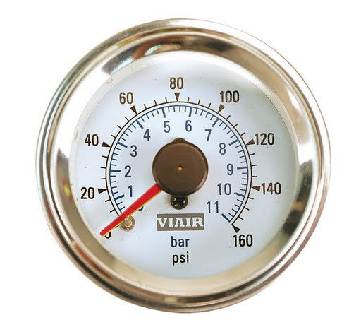 Viair 2 inch - Dual Needle Gauge - White Face - Illuminated -160 PSI - VIAIR - Dropship Direct Wholesale