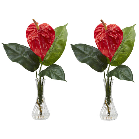 Anthurium w/Bud Vase Silk Flower Arrangement (Set of 2) - Nearly Natural - Dropship Direct Wholesale