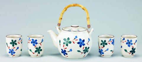 Cream Flower 5 Pc Porcelain Tea Set 54 Oz - Old Dutch - Dropship Direct Wholesale