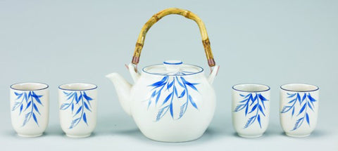 Cream Bamboo Grove 5 Pc Porcelain Tea Set 54 Oz - Old Dutch - Dropship Direct Wholesale