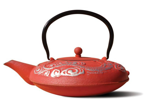 Lacquered Red/Silver Cast Iron Nara Teapot 40 Oz - Old Dutch - Dropship Direct Wholesale