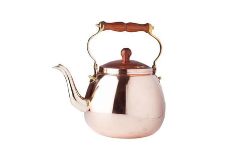 4 Qt Solid Copper Tea Kettle with Wood Handle - Old Dutch - Dropship Direct Wholesale