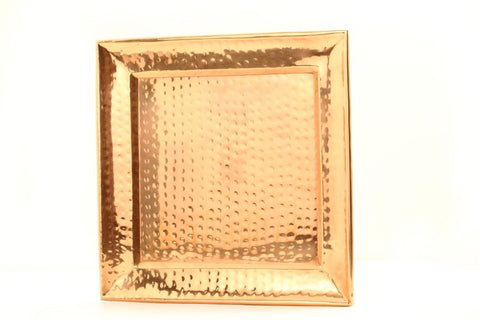 11 Inch Square Decor Copper Hammered Tray - Old Dutch - Dropship Direct Wholesale