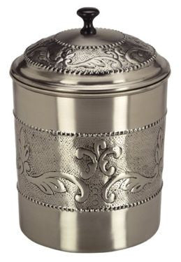 6.75 x 7.5 Antique Embossed Pewter Cookie Jar 4 Qt - Old Dutch - Dropship Direct Wholesale