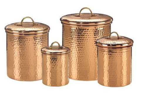 Set 4 Decor Copper Hammered Canisters 4Qt/2Qt/1.5Qt/1Qt - Old Dutch - Dropship Direct Wholesale