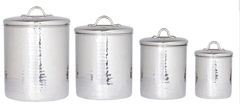 4 Pc. Stainless Steel Hammered Canister Set w/Fresh Seal Covers 4/2/1.5/1Qt - Old Dutch - Dropship Direct Wholesale