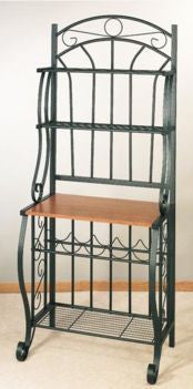 27.25 x16 x 68 Forest Green Bakers Rack w/Wine Rack - Old Dutch - Dropship Direct Wholesale