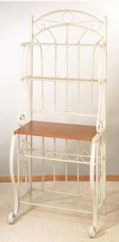 27.25 x 16 x 68 Linen White Bakers Rack w/Wine Rack - Old Dutch - Dropship Direct Wholesale