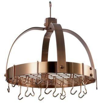 18.5 x 21 Dome Satin Copper Pot Rack w/Grid 16 Hooks - Old Dutch - Dropship Direct Wholesale