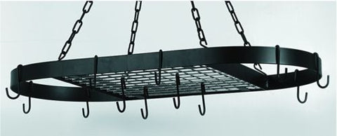 32.5 x 17 Oval Matte Black Hanging Pot Rack 12 Hooks/Chain - Old Dutch - Dropship Direct Wholesale