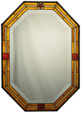 20 Inch W X 28 Inch H Personalized Stained Glass Boarder Mirror - Meyda - Dropship Direct Wholesale