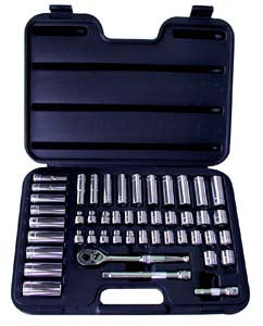 47 Piece 3/8-Inch Drive 6 Point SAE and Metric Socket Set In Blow Molded Case - ATD Tools - Dropship Direct Wholesale