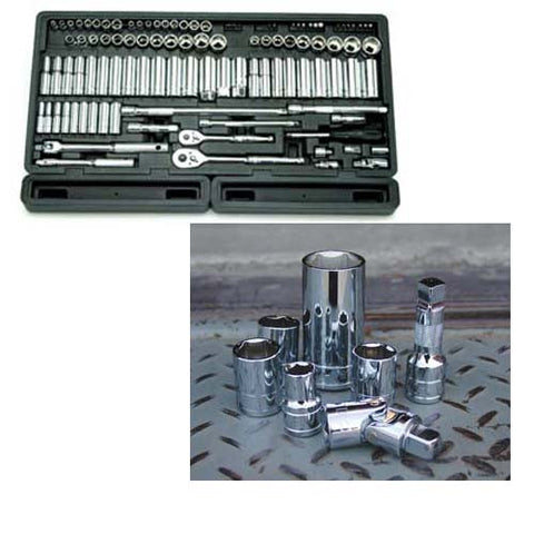 106 Piece 1/4-Inch and 3/8-Inch Drive 6-Point Socket Set in Blow Molded Organizer Tray - ATD Tools - Dropship Direct Wholesale