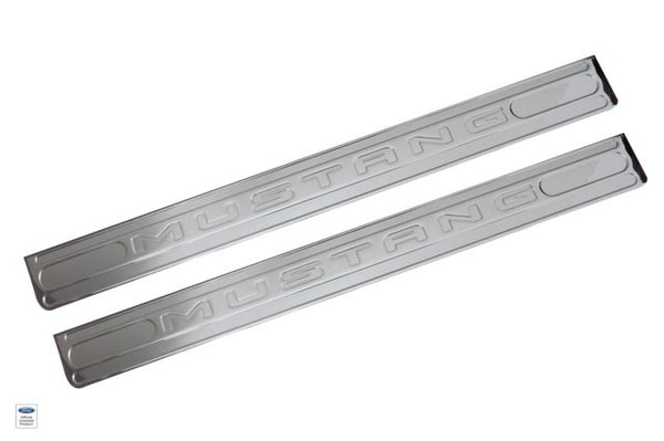 2005+ Ford Mustang Mustang Logo Door Sills Chrome - DefenderWorx - Dropship Direct Wholesale