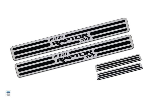 2009-13 Ford Raptor Two Tone Door Sill Crew Cab Brushed Finish set of 4 - DefenderWorx - Dropship Direct Wholesale