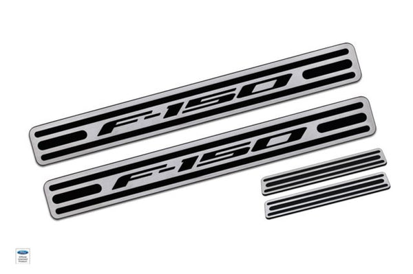 2009-13 Ford F-150 Two Tone Door Sill Crew Cab Brushed Finish set of 4 - DefenderWorx - Dropship Direct Wholesale