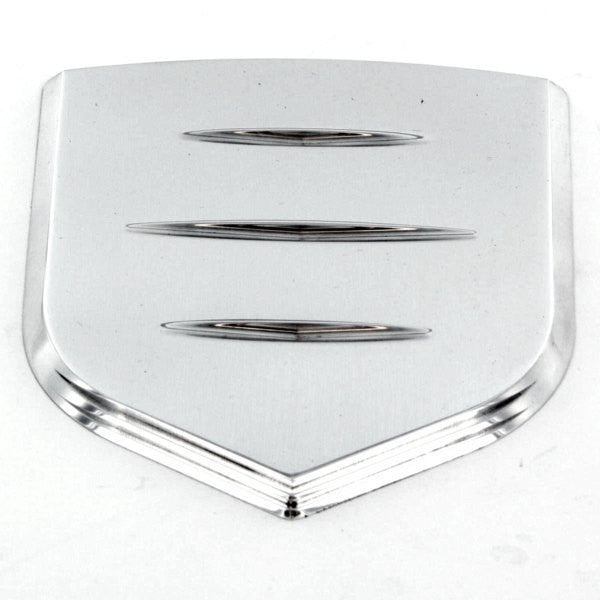All Sales Grille Emblem Shield Step Style Polished With Ball Milled Lines - AMI - Dropship Direct Wholesale