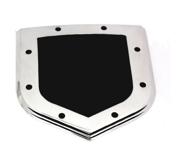 All Sales Grille Emblem Shield Step Style Polished With Black Powdercoated Center - AMI - Dropship Direct Wholesale