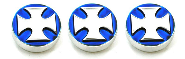 All Sales Interior Dash Knobs (set of 3)- Iron Cross Blue - AMI - Dropship Direct Wholesale
