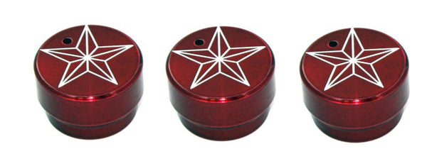 All Sales Interior Dash Knobs (set of 3)- Star Red - AMI - Dropship Direct Wholesale
