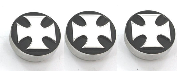 All Sales Interior Dash Knobs (set of 3)- Iron Cross Black - AMI - Dropship Direct Wholesale