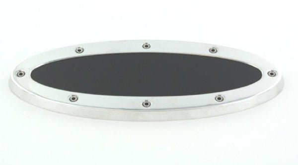All Sales Grille Emblem Oval Race Style Polished With Black Insert 9 Length - AMI - Dropship Direct Wholesale