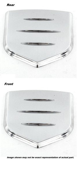 All Sales Grille and Tailgate Emblem Shield Step Style Polished With Ball Milled Lines - AMI - Dropship Direct Wholesale