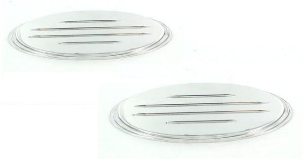 All Sales Grille / Tailgate Emblem Oval Step Style Polished With Ball Milled Lines 5 1/2 Front 5 1/2 Rear Leng - AMI - Dropship Direct Wholesale