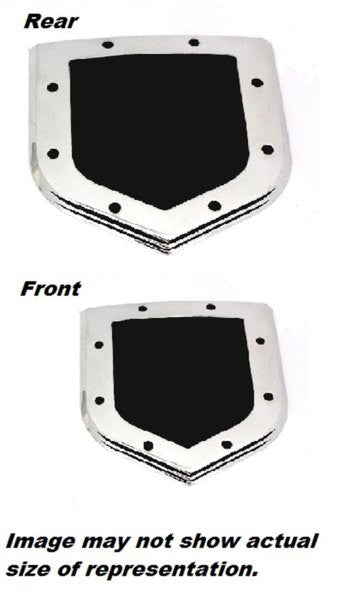 All Sales Grille and Tailgate Emblem Shield Step Style Polished With Black Powdercoated Center - AMI - Dropship Direct Wholesale