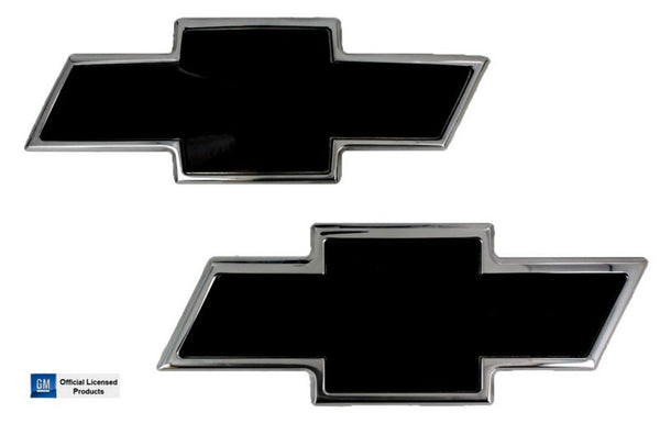 All Sales Chevy Bowtie Grille / Tailgate Emblem - Polished/Black Powdercoat - AMI - Dropship Direct Wholesale