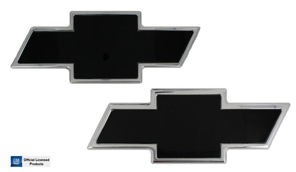 All Sales Chevy Bowtie Grille / Tailgate Emblem - Chrome/Black Powdercoat - AMI - Dropship Direct Wholesale
