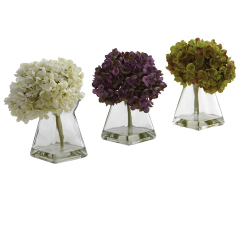 Hydrangea w/Vase (Set of 3) - Nearly Natural - Dropship Direct Wholesale