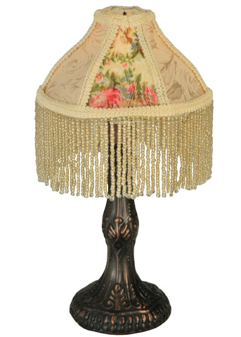 10 Inch H Fabric & Fringe Roses Mini Lamp - Meyda - Dropship Direct Wholesale