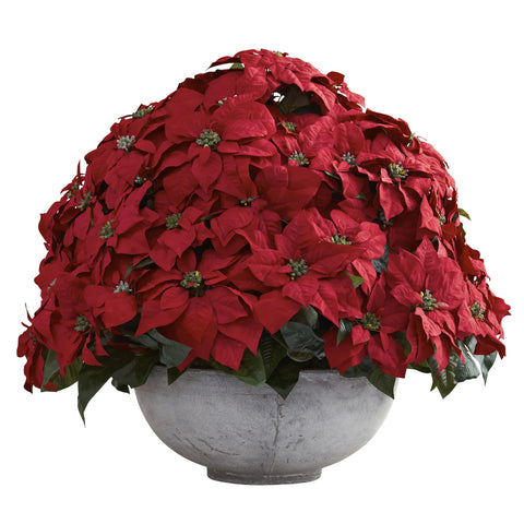 Giant Poinsettia Arrangement w/Decorative Planter - Nearly Natural - Dropship Direct Wholesale