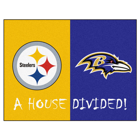 Pittsburgh Steelers - Baltimore Ravens NFL House Divided Rugs 33.75x42.5 - FANMATS - Dropship Direct Wholesale