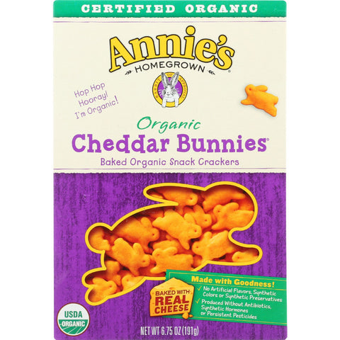 Annies Homegrown Snack Crackers - Organic - Cheddar Bunnies - 6.75 oz - case of 12 - Annie's Homegrown - Dropship Direct Wholesale