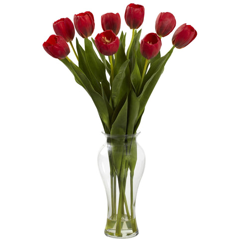 24in Tulips w/Vase - Nearly Natural - Dropship Direct Wholesale