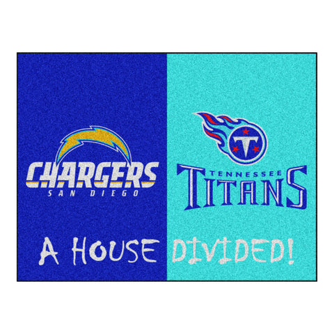 San Diego Chargers - Tennessee Titans NFL House Divided Rugs 33.75x42.5 - FANMATS - Dropship Direct Wholesale