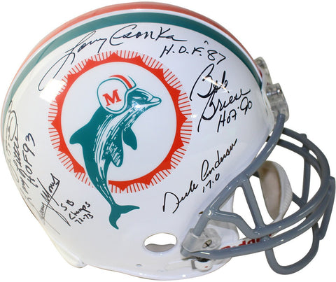 1972 Dolphins 6 Signature Authentic Helmet Signed and Inscribed by Csonka w/HOF 87/Griese/Fernandez /Morris /Little /Anderson